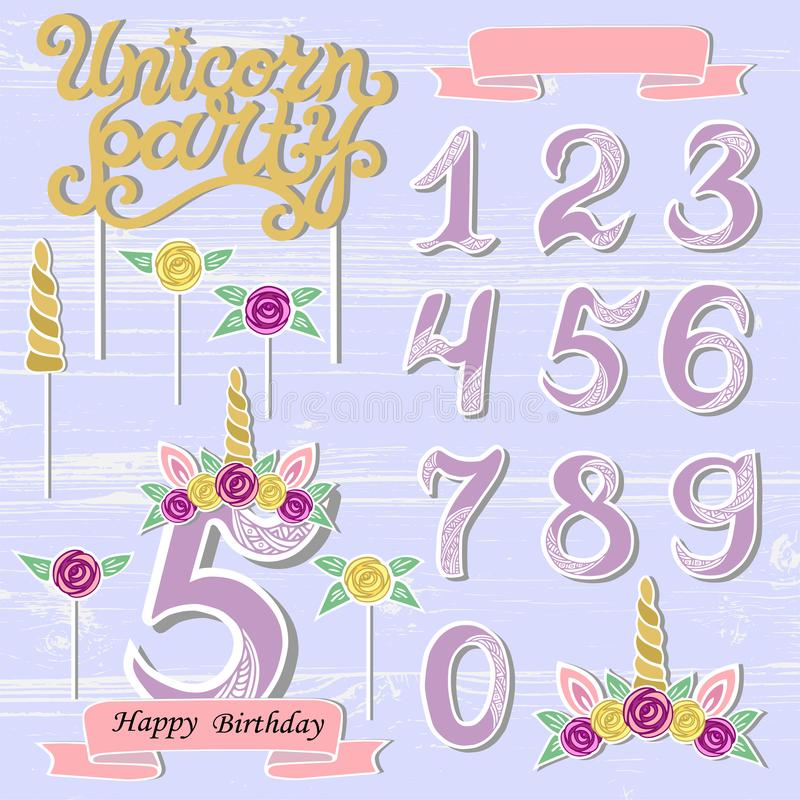 Vector set with Unicorn Tiara, Numbers, Horn, flower. stock illustration