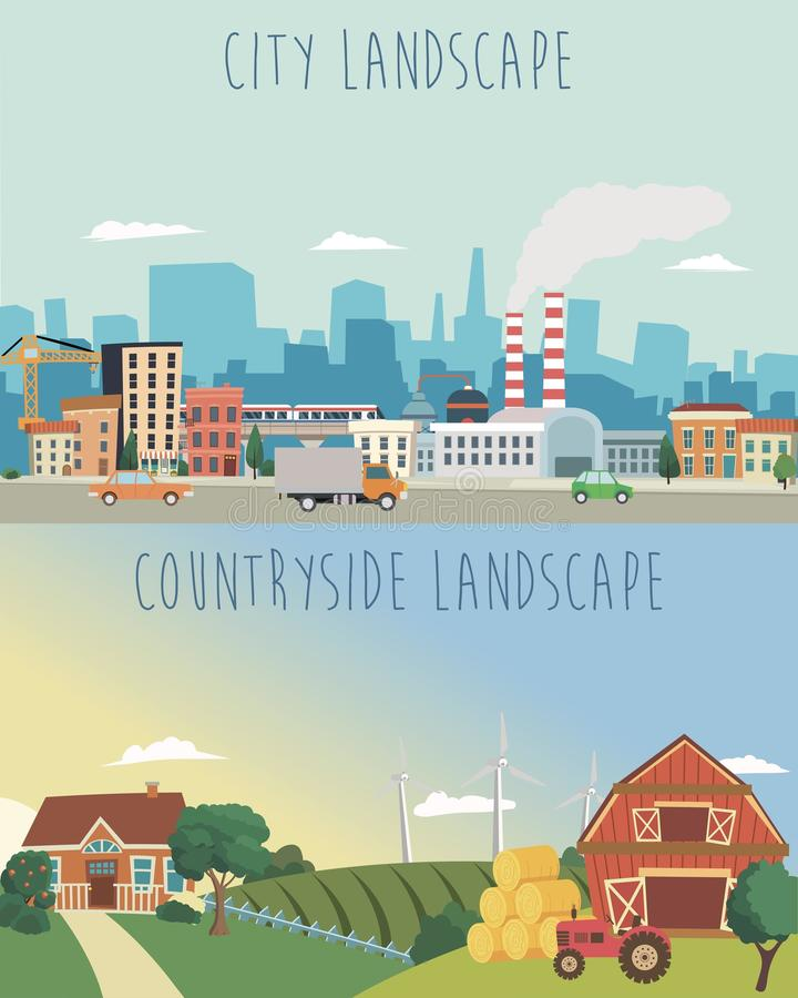 Vector set of urban and countryside landscapes. Big city, village farm illustration in flat style design. Vector set of urban and countryside landscapes. Big royalty free illustration