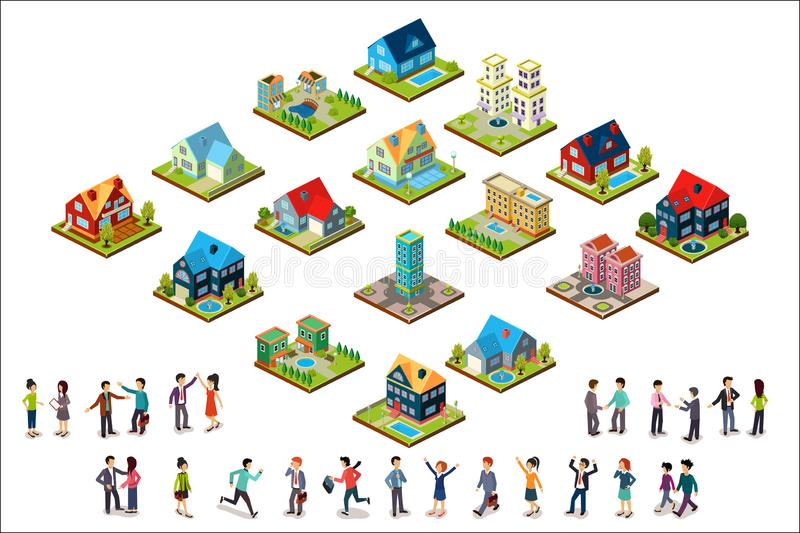Vector set of urban isometric houses and groups of people. Residential buildings. Modern 3D style. Elements for mobile stock illustration