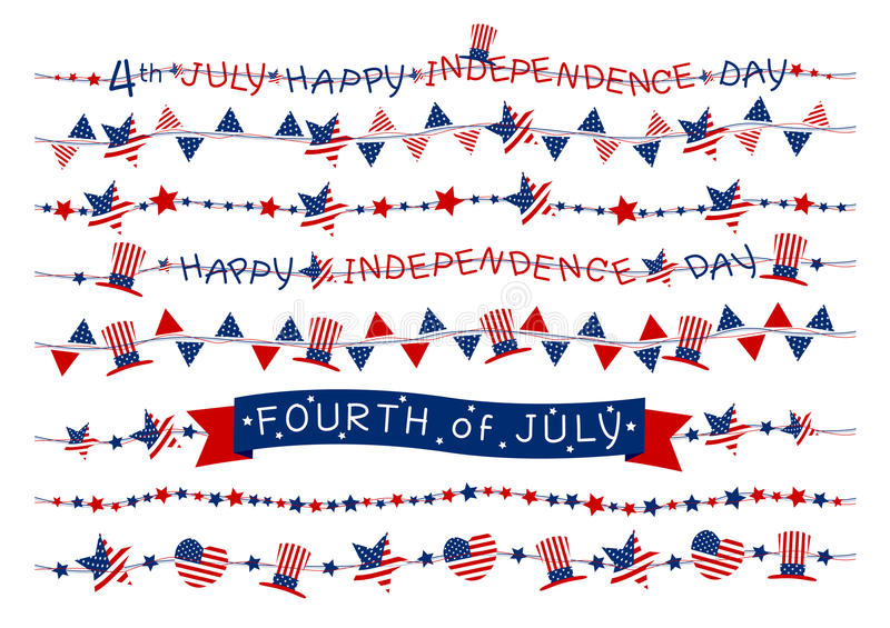 Vector set of USA flag border or garland design on white background for 4 july independence day or other celebration vector illustration