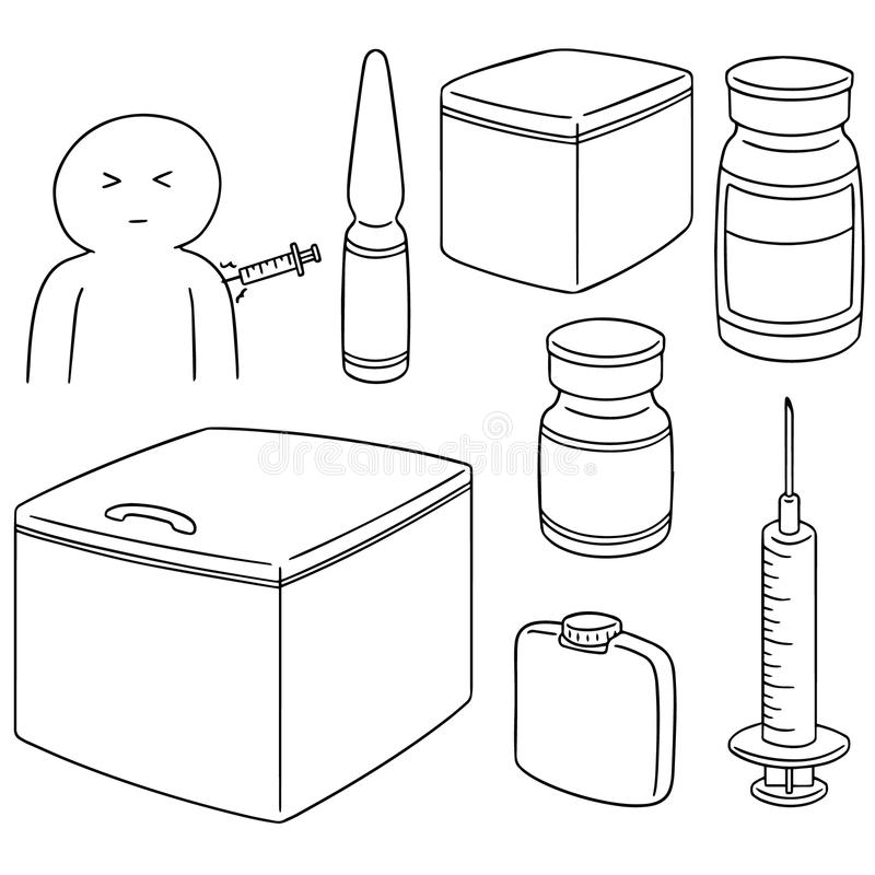Vector set of vaccine. Hand drawn cartoon, doodle illustration royalty free illustration