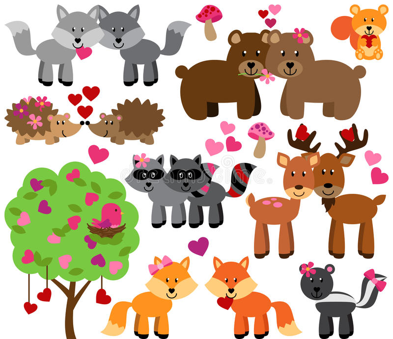 Vector Set of Valentine's Day Forest Animals stock illustration