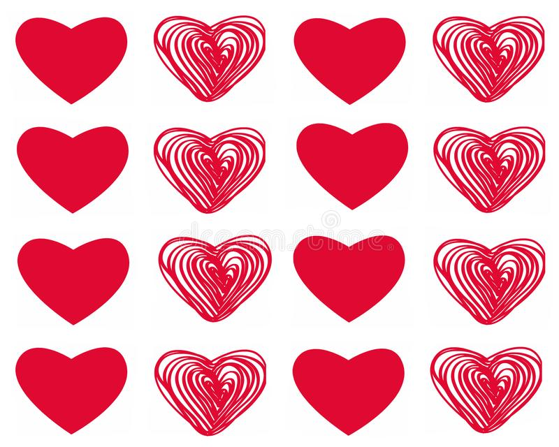 Vector set of Valentine`s day with red hearts on white background vector illustration