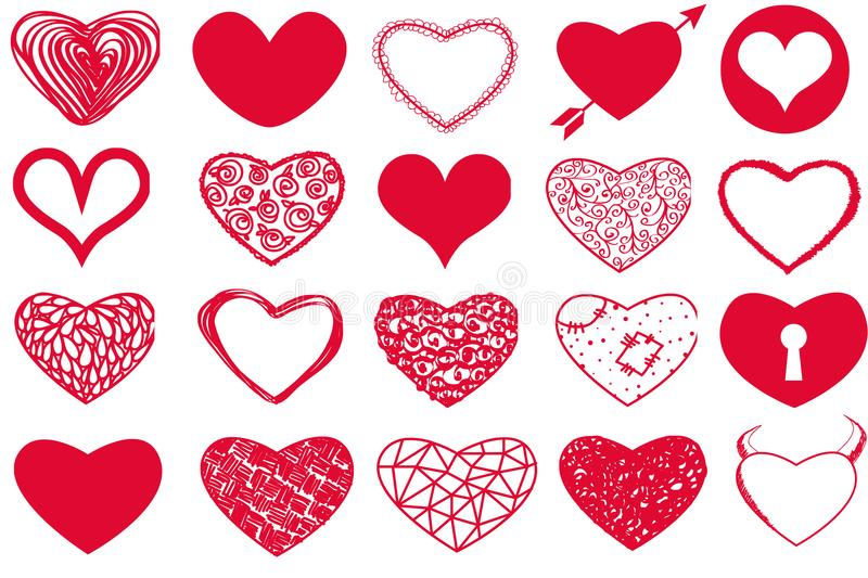 Vector set of Valentine`s Day red hearts on white background royalty free illustration