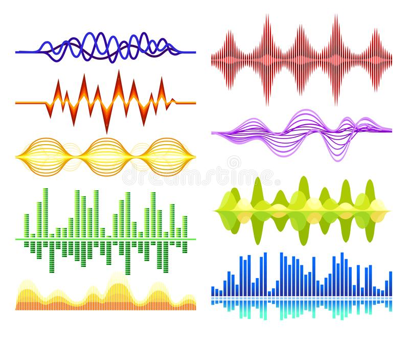 Vector set of various abstract music waves. Sound vibrations. Digital equalizer. Audio technology vector illustration