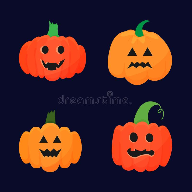 Vector set of various drawn pumpkins with carved faces isolated on dark background. royalty free illustration
