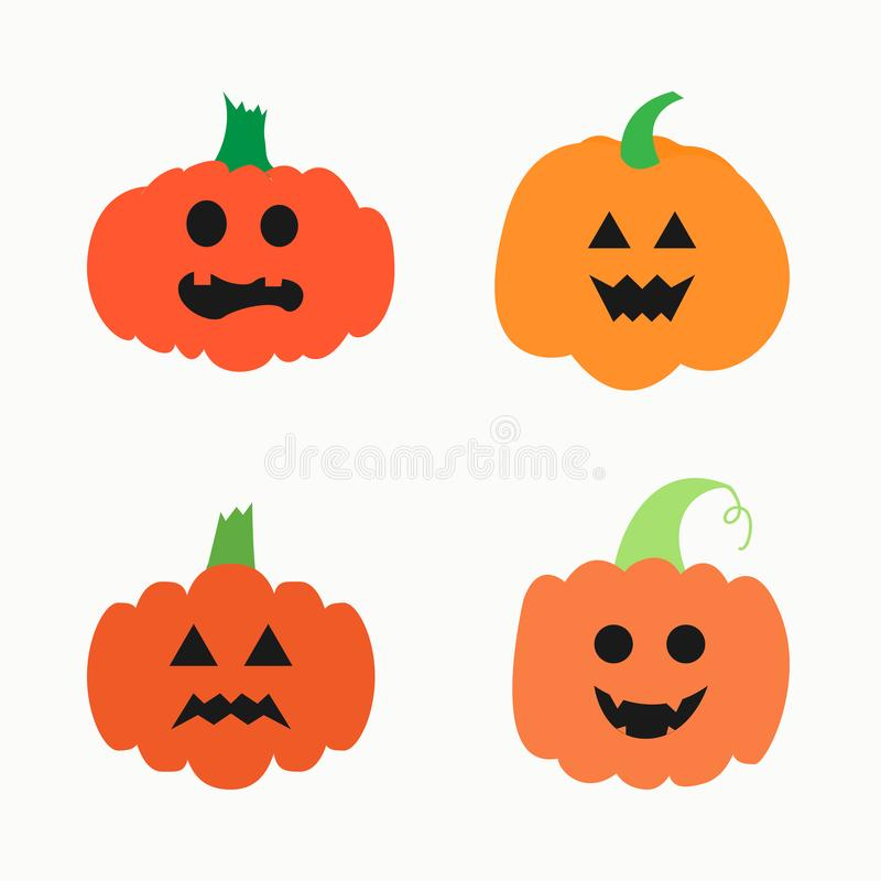 Vector set of various drawn pumpkins with carved faces isolated on white background. vector illustration