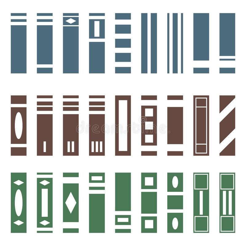 Vector Set of Various Kinds of Books. Side View. Books collection for bookshelf. Vector illustration isolated on white background royalty free illustration