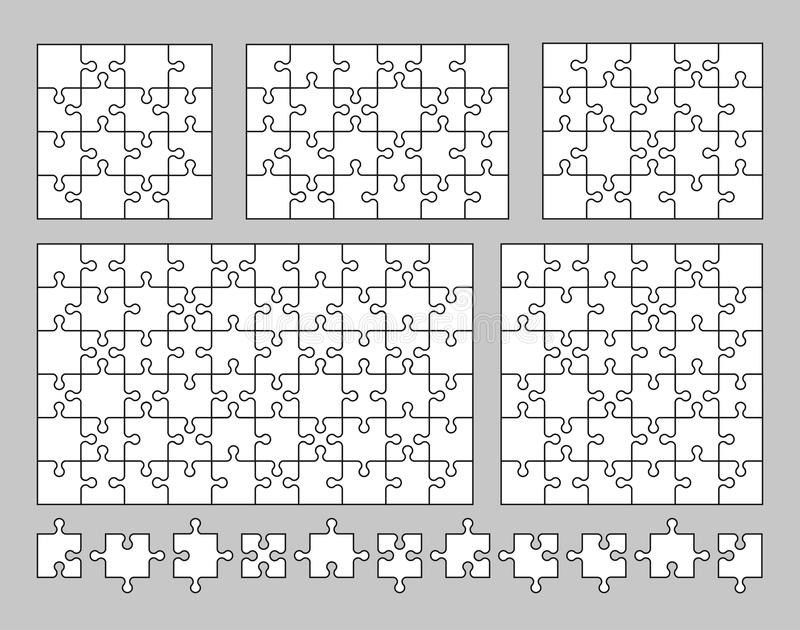 Vector set of various puzzles and jigsaw pieces. 16, 20, 24, 36 and 60 pieces. Vector illustration. royalty free illustration
