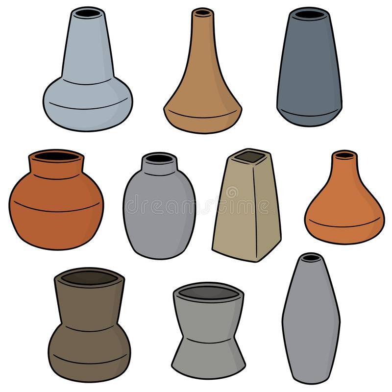 Vector set of vase. Hand drawn cartoon, doodle illustration vector illustration