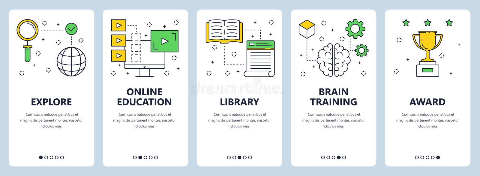 Vector modern thin line education concept web banner set vector illustration