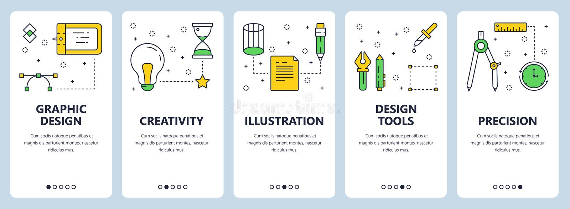 Vector modern thin line graphic design concept web banner set vector illustration