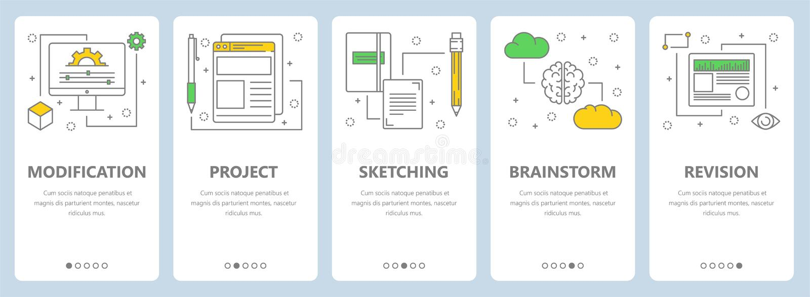 Vector modern thin line art style modification concept banners stock illustration