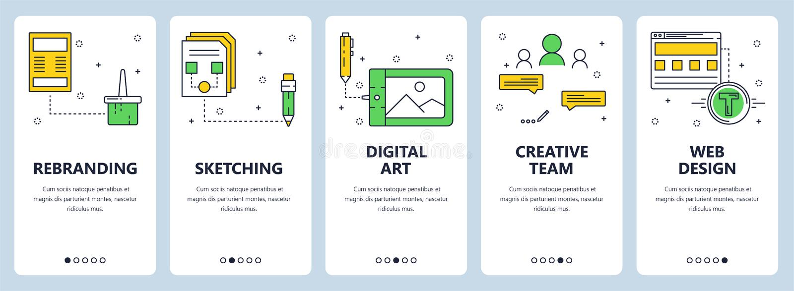 Vector modern thin line rebranding vertical web banner set vector illustration
