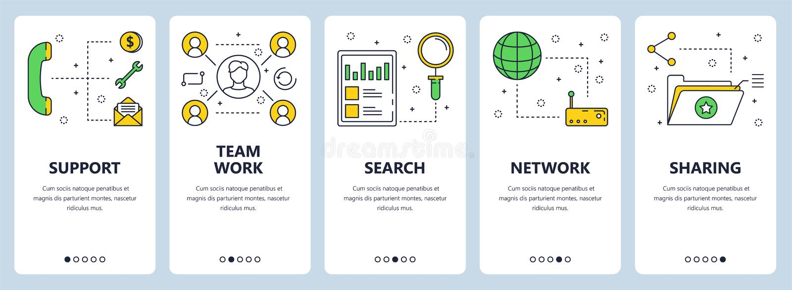 Vector modern thin line support and teamwork concept banner set royalty free illustration