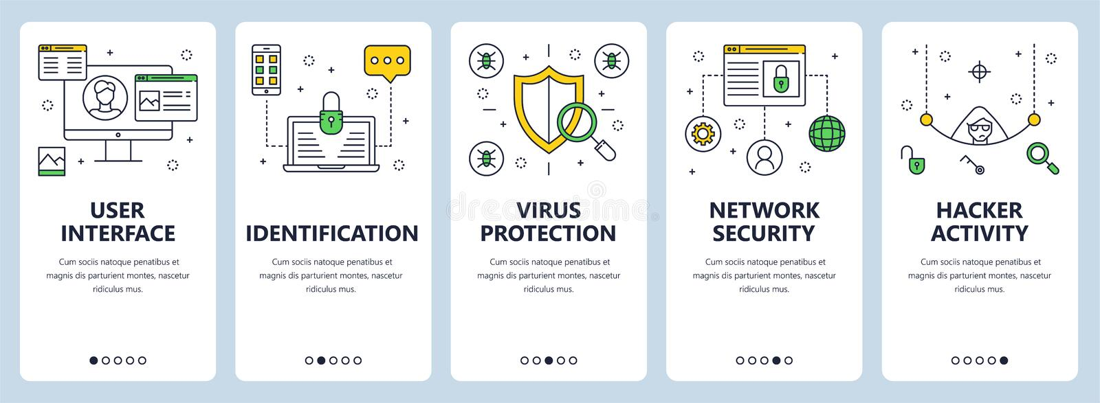 Vector modern thin line user interface concept banner set. Vector set of vertical banners with User interface, Identification, Virus protection, Network security royalty free illustration
