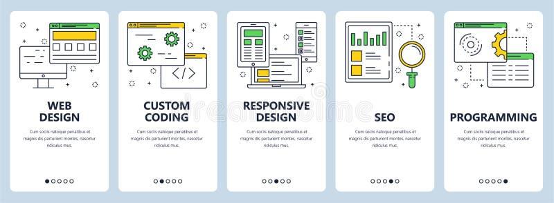 Vector modern thin line web design concept banner set royalty free illustration