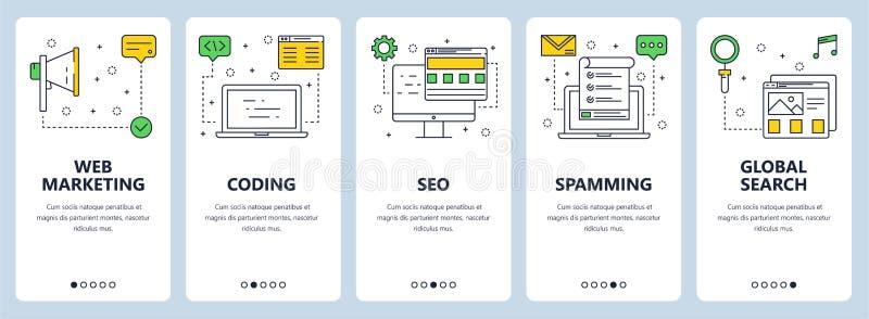 Vector modern thin line web marketing concept web banner set vector illustration