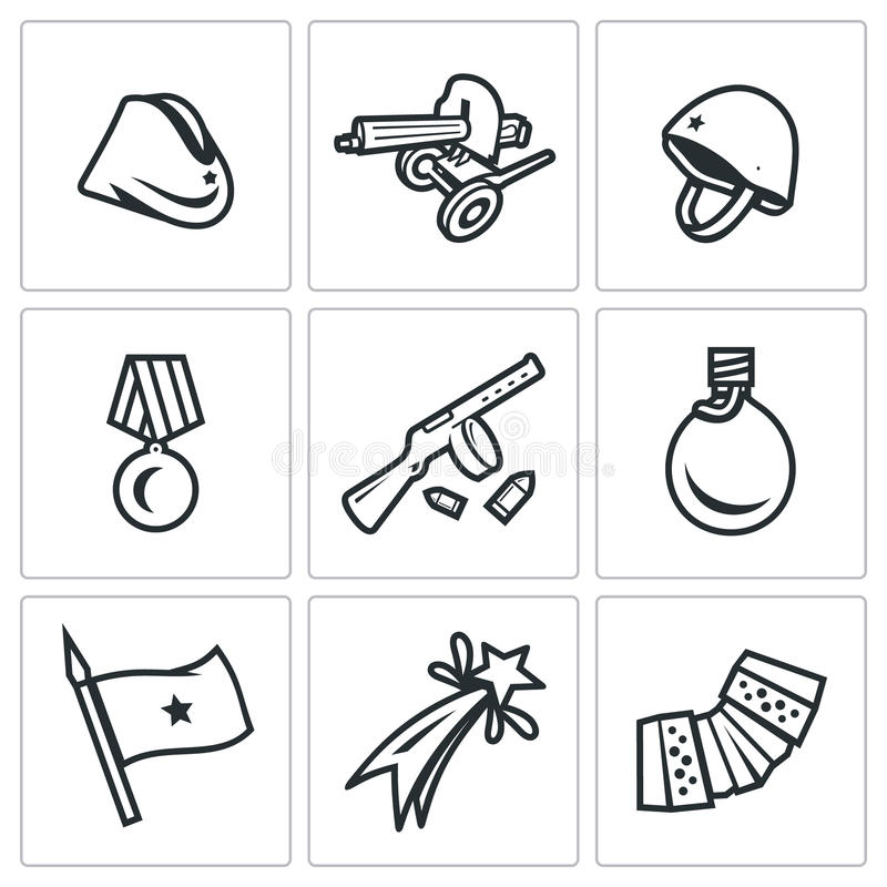 Vector Set of Victory Day in Russia Icons. Garrison cap, Machine gun, Helmet, Order, Submachine, Flask, Flag, Firework stock illustration