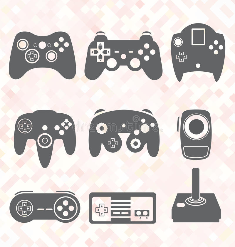 Vector Set: Video Game Controller Silhouettes royalty free illustration