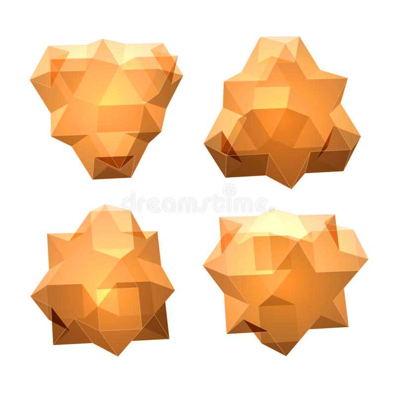 Vector set of views of transparent complex geometric shape. Based on tetrahedron. Four types of perspective views stock illustration