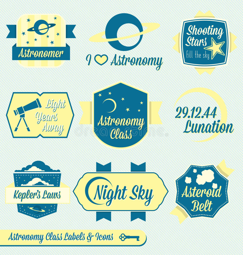 Vector Set: Vintage Astronomy Class Labels royalty free illustration