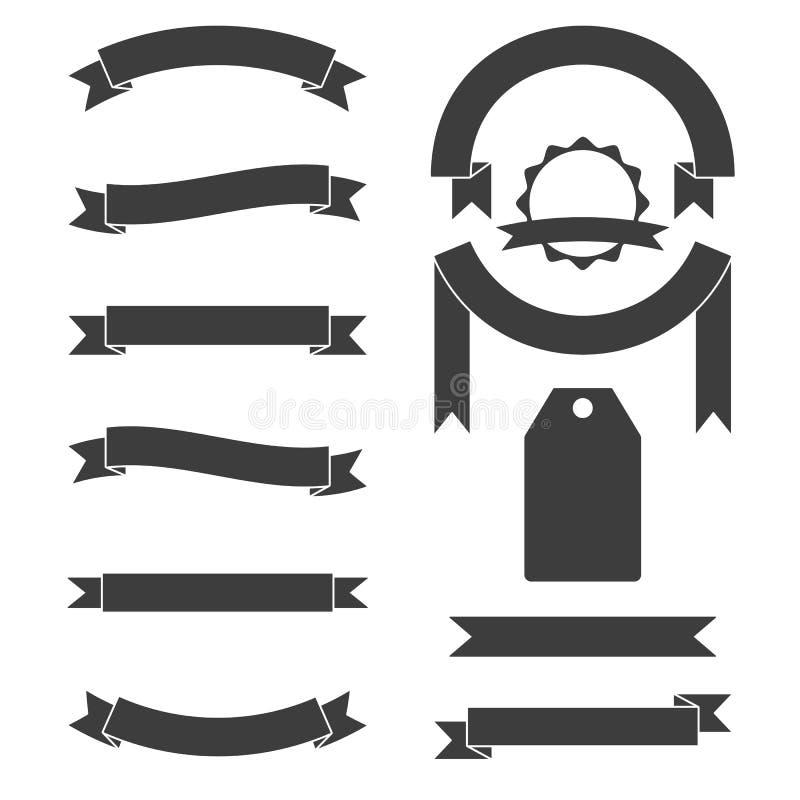 Vector set of vintage black ribbons vector illustration