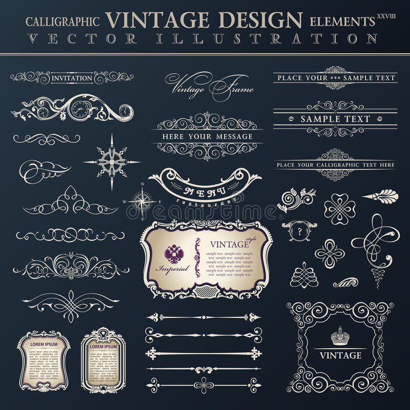 Vector set vintage. Calligraphic design elements and page decoration, collection with black royal ornament. Vector set vintage ornate. Calligraphic design stock illustration