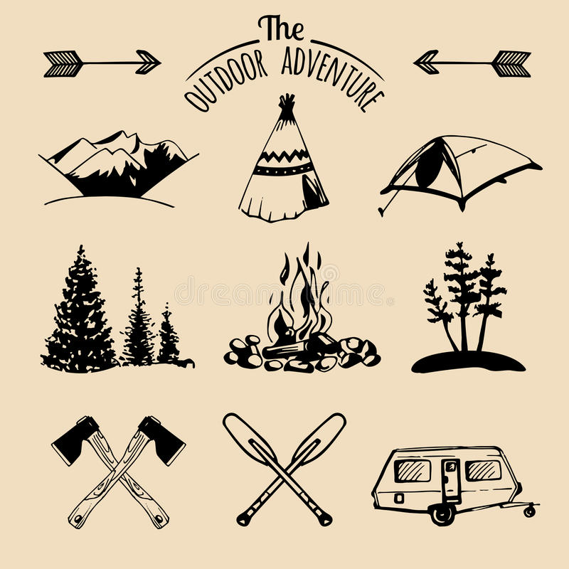 Vector set of vintage camping logo elements. Retro signs of outdoor adventures. Tourist sketches for emblems or badges. stock illustration