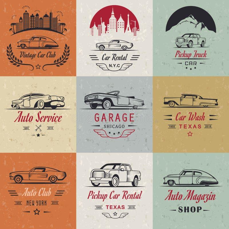 Vector Set of Vintage Car Badges and Sign royalty free illustration