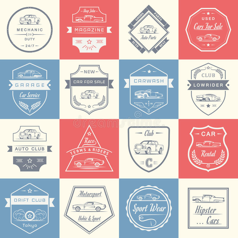 Set Of Car Service Emblems Labels Badges Logos: Vector Set