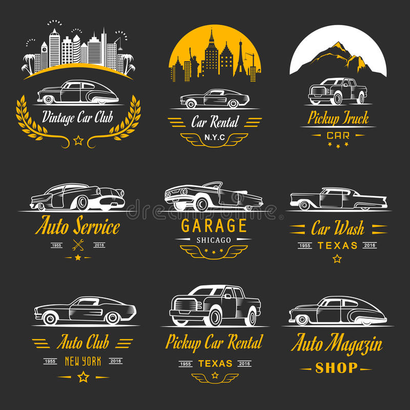 Vector Set Of Vintage Car Symbols And Logos Stock Vector