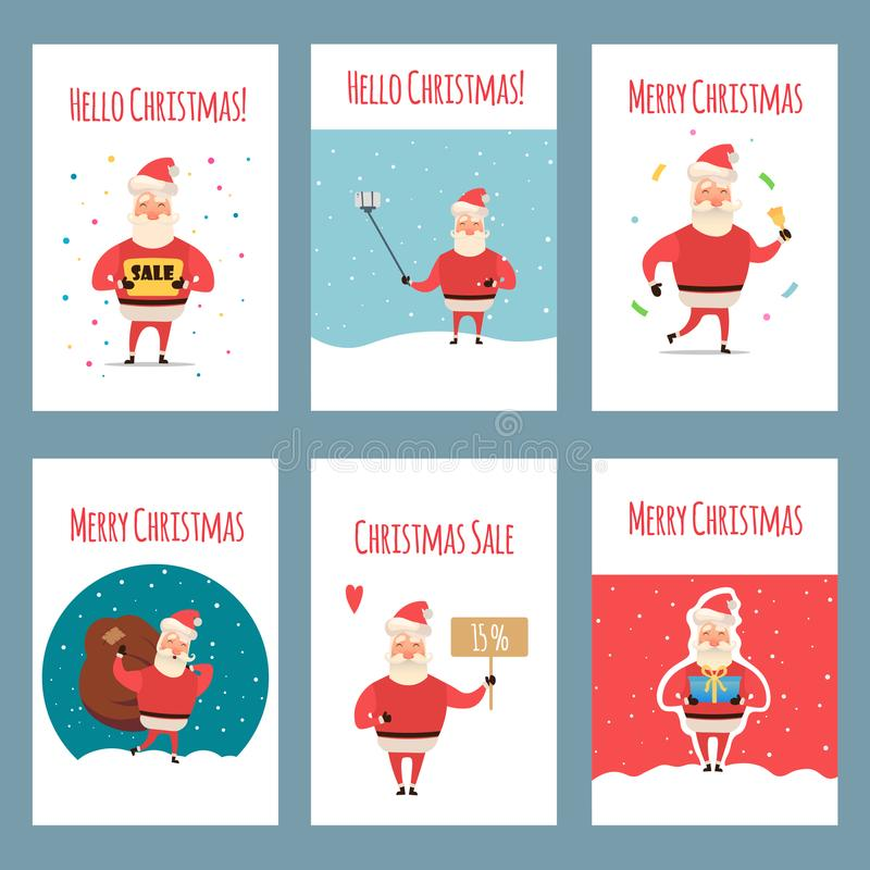 Vector set of vintage Christmas labels, banners with cartoon Santa Claus character, present, tree, hat, sleigh, snowman stock illustration