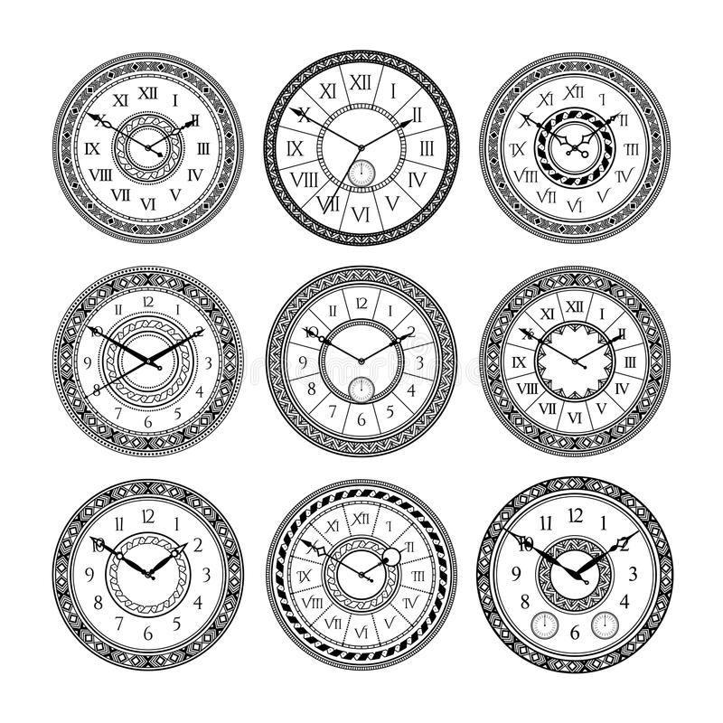 Vector set of vintage clocks. Monochrome pictures isolate. Symbols of time. Clock time with arrow and antique number dial illustration vector illustration