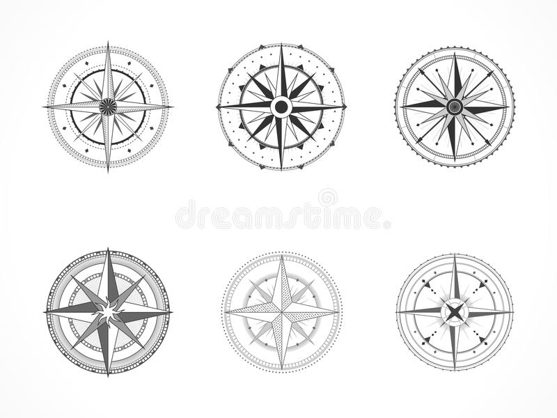 Vector set of vintage compasses or marine wind roses. Collection in line art style. Black line. Isolated on white background stock illustration