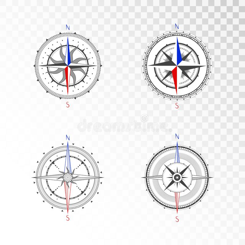 Vector set of vintage compasses or marine wind roses. Collection in line art style. Isolated on transparent background. Black line with the marked color the vector illustration