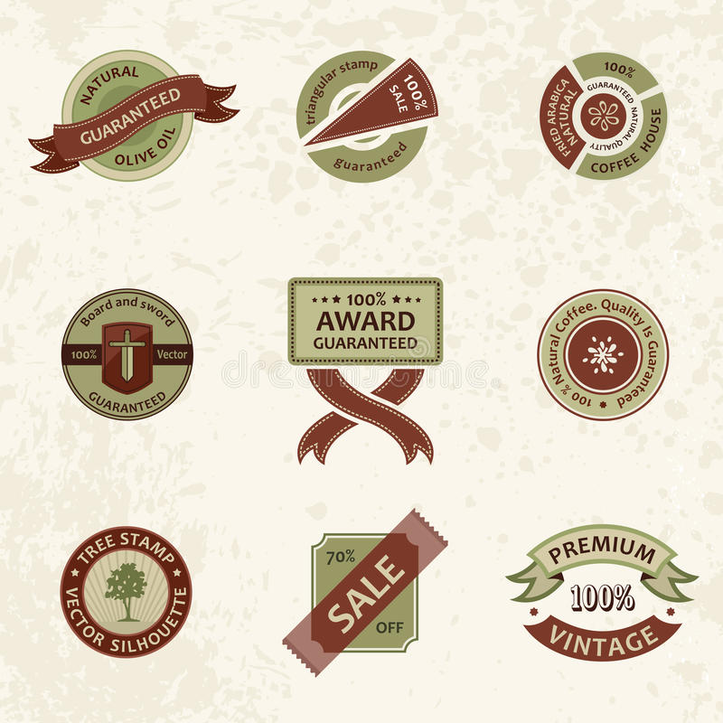 Download Vector Set Vintage Decor Elements. Ribbon Stamps Stock Vector - Image: 25768210