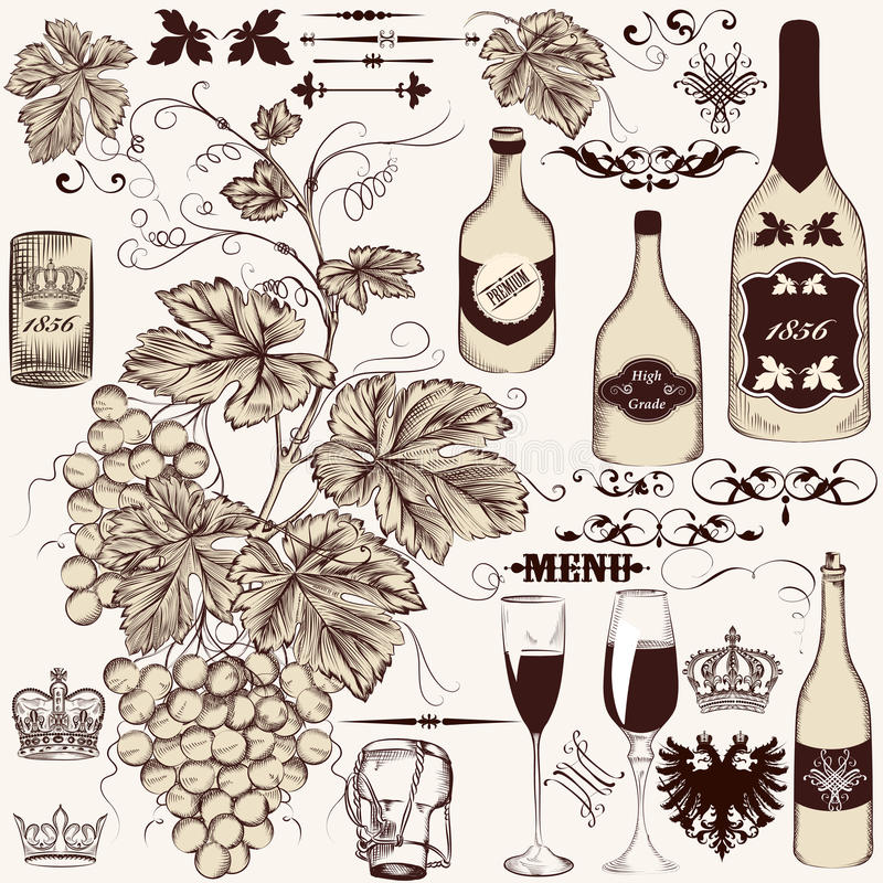 Vector set of vintage decorative elements stock illustration