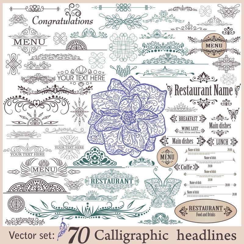 Vector set of vintage design elements royalty free illustration