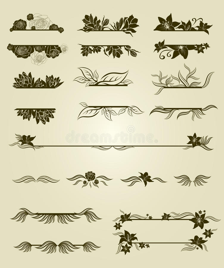 Download Vector Set Of Vintage Design Elements With Flowers Stock Image - Image: 20238861