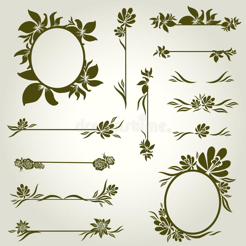 Vector Set Of Vintage Design Elements With Flowers Royalty Free Stock Photo