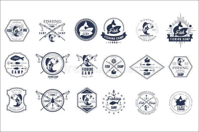 Vector set of vintage fishing camp logo or tournament emblem templates. Original monochrome labels with fishes and fish stock illustration