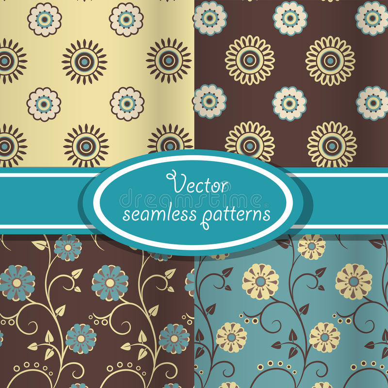 Download Vector Set Of Vintage Floral Patterns Stock Vector - Illustration of nostalgic, beautiful: 25797446