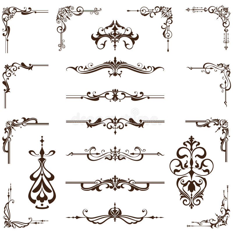 Vector Set Of Vintage Frames, Borders And Corners Stock Vector ...