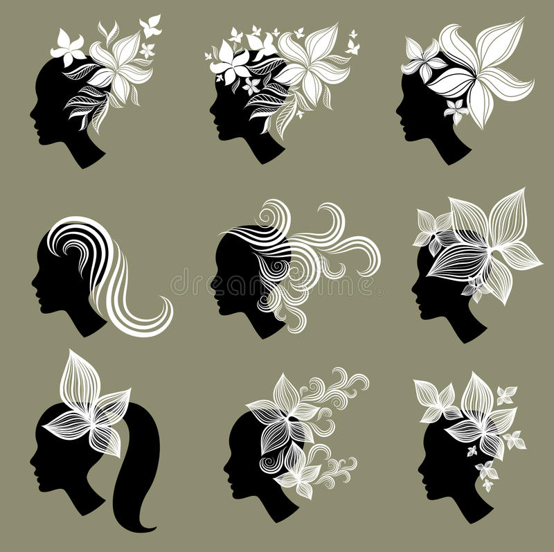 Download Vector Set Of Vintage Girls Hair From Leafs Royalty Free Stock Image - Image: 18986196