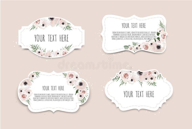 Vector set. Vintage labels with flowers. Frame border with copy space.  vector illustration