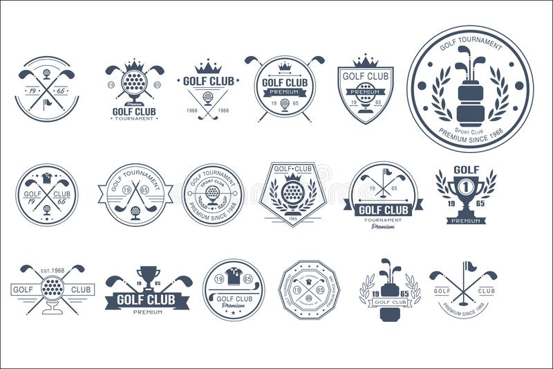 Vector set of vintage logos for golf club. Individual sports game. Monochrome emblems with balls, golf clubs, trophies royalty free illustration
