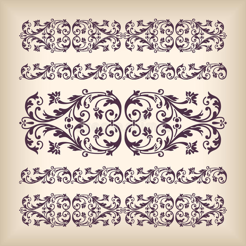 Vector Set Vintage Ornate Border Frame With Retro Ornament