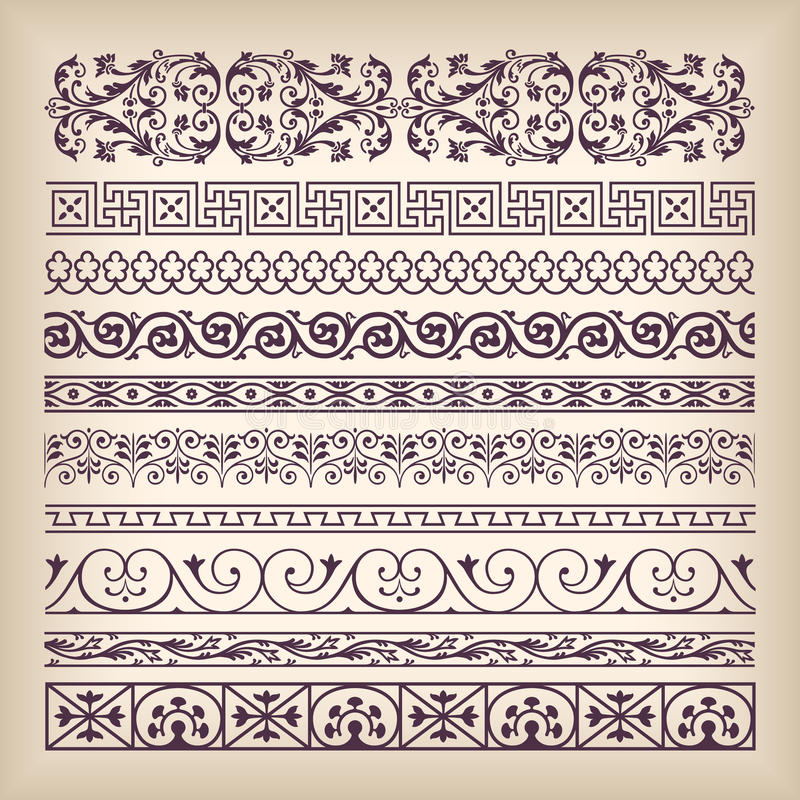 Vector set vintage ornate border frame with retro ornament pattern in antique baroque style. Arabic decorative calligraphy design vector illustration