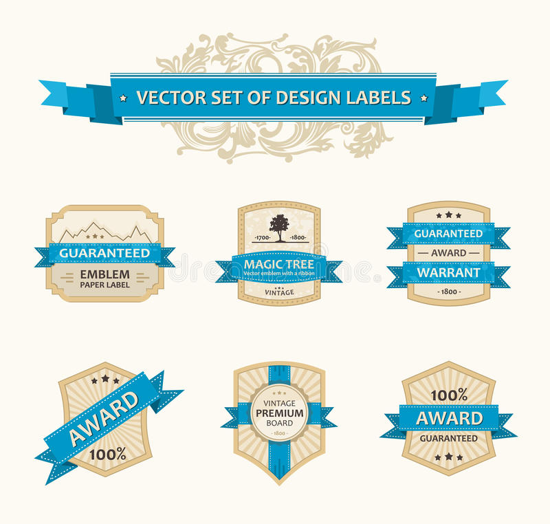 Free Vector Set Vintage Ornate Decor Ornaments Ribbon Royalty Free Stock Images - 25768209